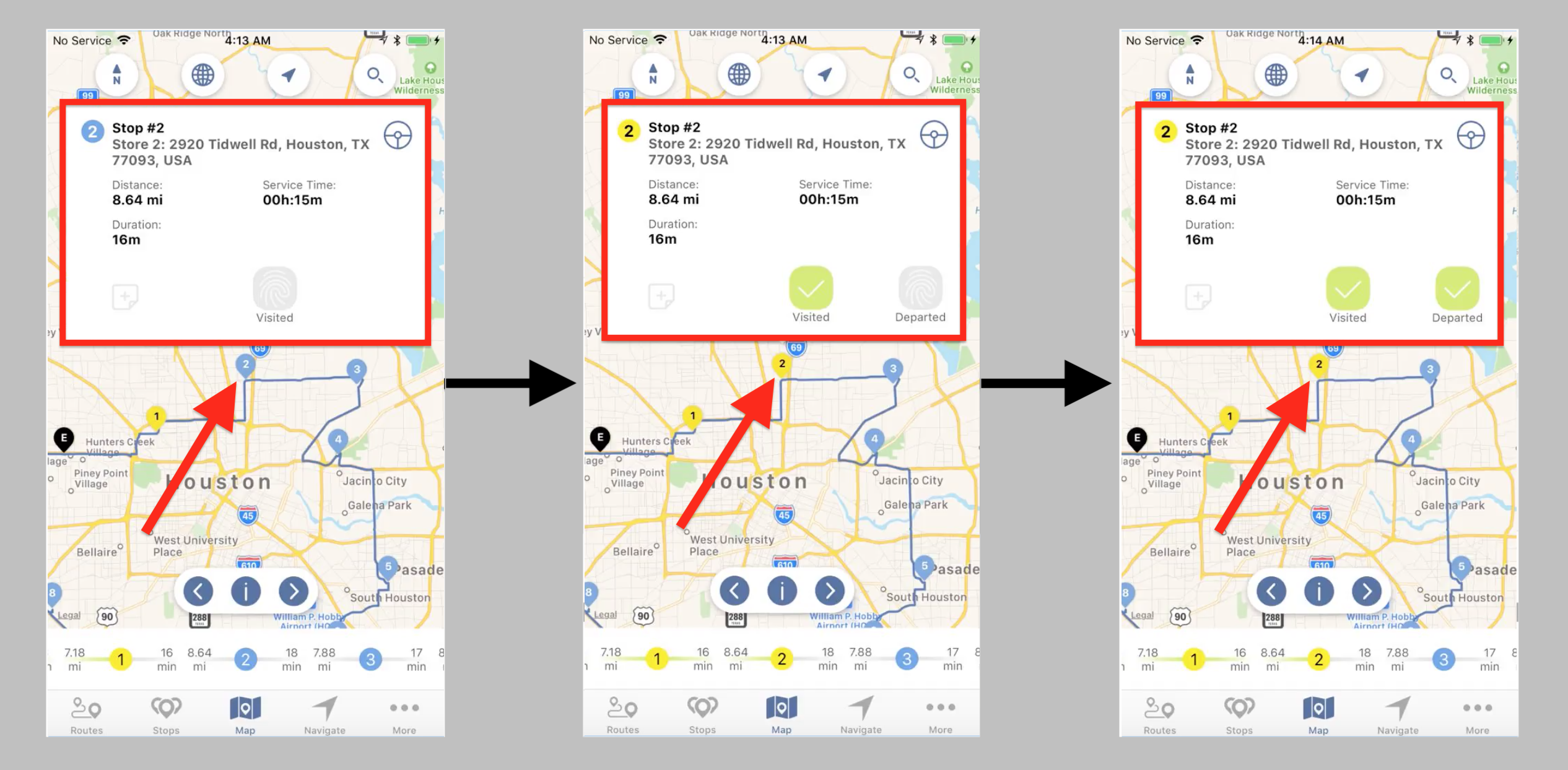 Tracking Progress of your Route and Marking Stops as Visited and Departed on an iPhone